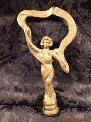 """RARE CAST IRON ART DECO Teens to 1920's FIGURAL WOMAN LADY LAMP FINIAL 7"""" HEAVY"""