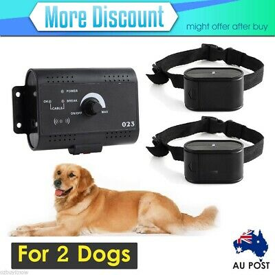 Dog Electric Fence Fencing System for 2 Collars Rainproof Underground AU