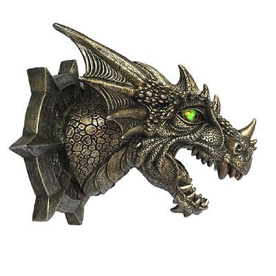 Medieval Dragon Wall Sculpture Trophy W/ Lighted Led Eyes