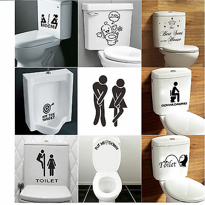 Toilet  Seat Decal Funny Vinyl Sticker Wall Sticker Art  Bathroom Home Decor