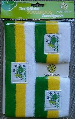 Brand New Official Socceroo Aussie Green & Gold Sports Sweatband Headband set