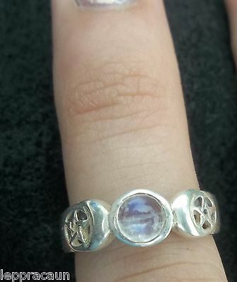 Sterling Silver Double Pentacle/Goddess Ring with Rainbow Moon Stone