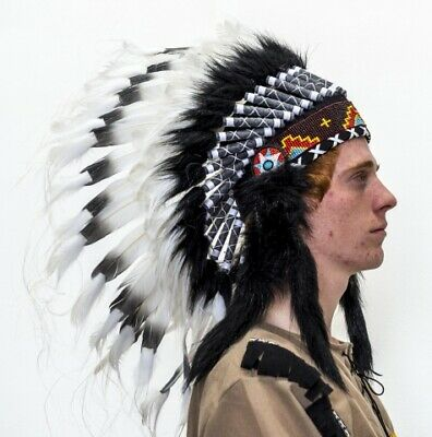 Indian Headdress Native American Black And White Fancy Dress Costume Accessory