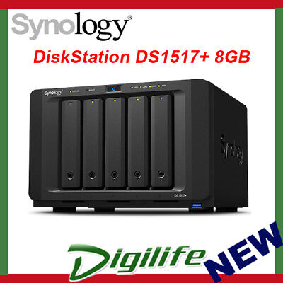 Synology DiskStation DS1517+ (8GB) 5 Bay Diskless NAS - Atom Quad Core CPU