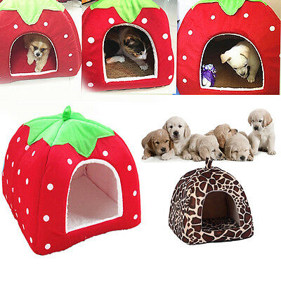 Leopard Strawberry Pet Dog Cat Bed House Kennel Puppy Cushion Basket Pad Nest