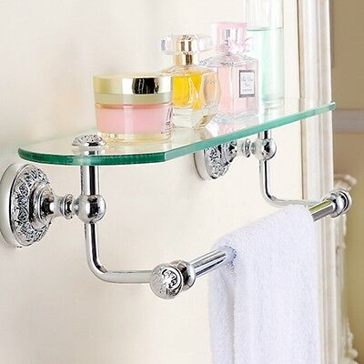 Wall Mounted Chrome Brass Bathroom Shelf Storage Holder Glass Tier W/ Tower Bar