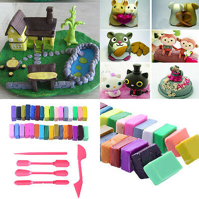 32 Colour + 5 Oven Bake Clay Block Modelling Moulding Sculpey Tool Toy Gift