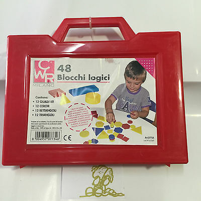 Scatola 48 Pezzi Figure Logiche Blocchi Logici Cwr Made In Italy