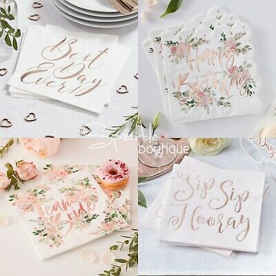 Luxury Rose Gold / Floral Napkins - Perfect for Wedding, Hen or Birthday Party