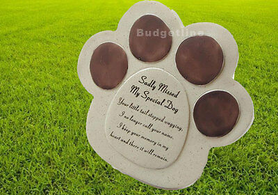 Special Dog Always Loved Sadly Missed Dog Paw Grave Stone Memorial Plaque Pet