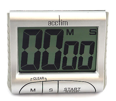 Acctim Jumbo Silver Finish Count Up Down Timer 99 Min 59 Sec Magnetic & Hook