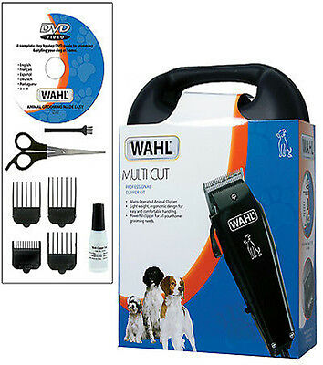 Wahl Multi Cut Professional Clipper Pet Grooming Animal Hair Set Kit With Dvd