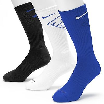New Nike Cushioned 3 Pair Crew Socks Mens Shoe Size 8-12 Blue White Black Gift