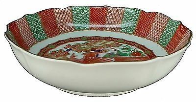 ARITA china IMARI PEACOCK pattern ROUND VEGETABLE Serving BOWL scallop 9-1/2""