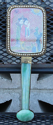 Very Beautiful Vintage Chinese Jadeite Hand Mirror.