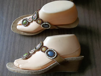 7edf841492a1e NWOB Colorful Beaded Brown Leather Slides MINNETONKA Sandals Size 6 and 8