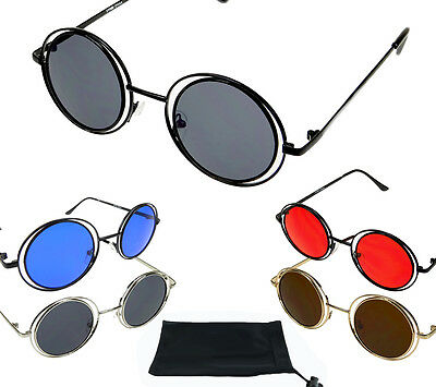 15f3c8001695 Small Round Circle Sunglasses Red Blue Lens Wire Metal Frame John Lennon  Ozzy
