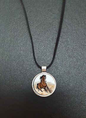 """Horse Pendant On a 18"""" Black Cord Necklace Ideal Birthday Gift N81"""