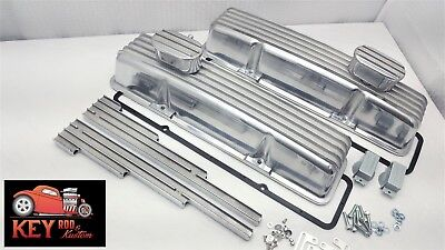 SBC TALL finned aluminum valve covers GASKETS & BREATHERS 305 350 327 400 307
