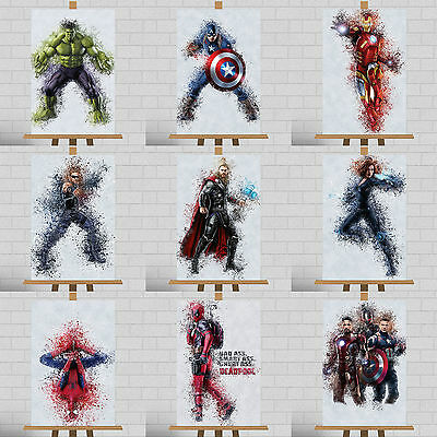 "Marvel Framed Canvas Print Poster DC Avengers Paint Splatter Splash A3 18""x12"""