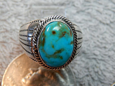 Mens Sterling Turquoise Ring Navajo Lorenzo James Size 10 1/8 New