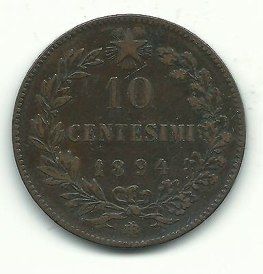 Very Nice Better Grade 1894 Bi 10 Centesimi Italy Coin-Dec363