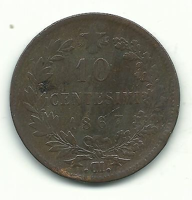 Very Nice Better Grade 1867 Om 10 Centesimi Italy Coin-Dec361