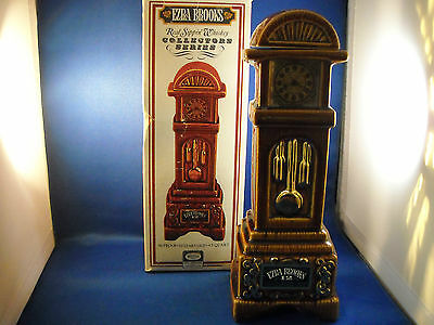 Vintage 1970 Ezra Brooks Grandfather Clock Decanter W/box  Heritage China Empty