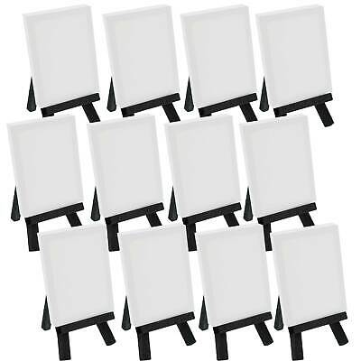"5"" Mini BLACK Easel & 2""x3"" Mini Canvas Complete Craft Painting Set Pack of 12"