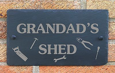 Personalised Shed Garage Slate Plaque Sign Gift for Him