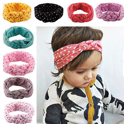 Newborn Baby Girls Toddler Spotted Soft Cloth Hairband Headband Wrap Turban