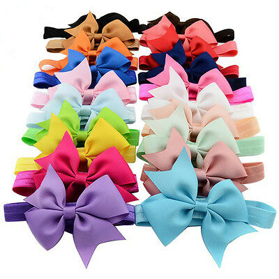 Newborn Baby Girl Toddler Kids Hair Bow Hair Band Headband Grosgrain Ribbon