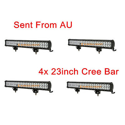 4x 23inch 144W CREE LED Spot Flood Combo 4WD Work Light Bar Offroad UTE Lamp SUV