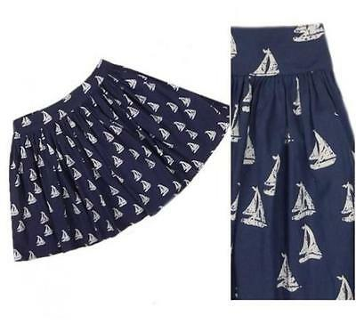 New NEXT Navy Blue White Sailing Boat Print Cotton  Full Skirt 11-16 yrs