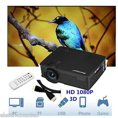 Excelvan 3D Mini LED Projector 1200 Lumens 1080P Home Cinema Theater+HDMI Cable