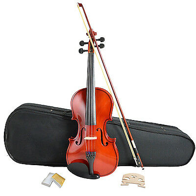 NEW! Full Size 4/4 Acoustic Violin Set With Case, Bow & Rosin