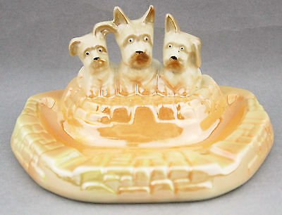 Vintage WEMBLEY WARE Three Scottie Dogs Ashtray Dish Apricot Australian Pottery