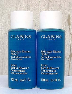 Clarins Relax Bath Shower Concentrate plus Essential Oils 2 x 100ml Unboxed