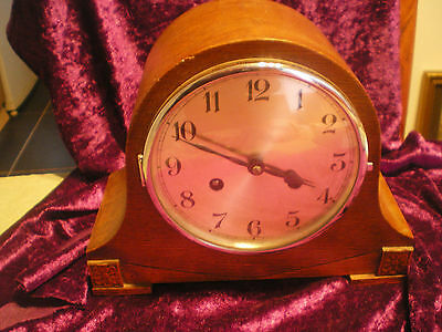 8 day OAK CASED STRIKING MANTEL CLOCK FULLY SERVICED VGC