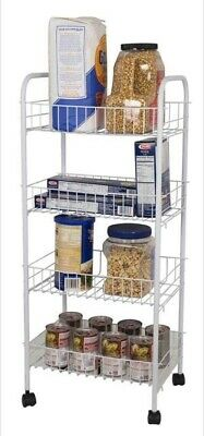 Home Basics NEW 4 Tier White Kitchen with 4 Baskets or Laundry Trolley - FB41258