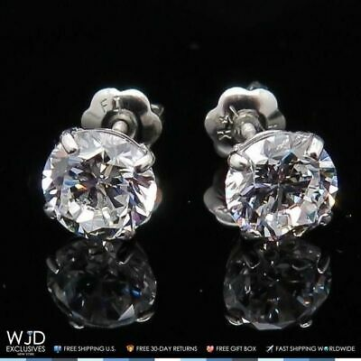 2Ct Created Diamond Brilliant Round 14K White Gold Screwback Stud Earrings