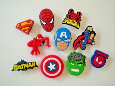Jibbitz Shoe Charm Plug Buttons Fit Croc WristBands Bracelet Belts 10 Super Hero