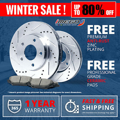 FRONT | SILVER Slotted Drilled Rotors & Ceramic Pads Legacy Outback Impreza