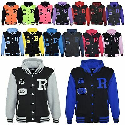 Kids Girls Boys R Fashion FOX Baseball Hooded Jacket Varsity Hoodie 5-13 Years