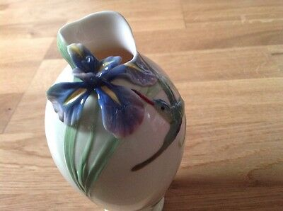 REDUCED FRANZ Porcelain Vase Hummingbird & Iris by William Ho. FZ00246