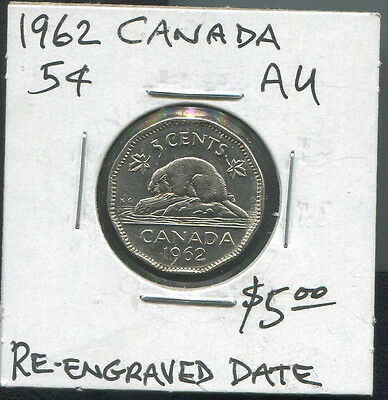 Canada - Fantastic Qe Ii Repunched Date 5 Cents, 1962
