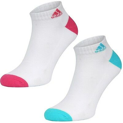 2 Pair Adidas Womens Core Trainer Sports Socks Ladies Cushioned Running Socks
