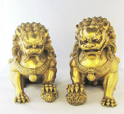 "Pair LARGE 12"" Feng Shui Fierce Chinese Brass Fu Foo Dogs Lion Protectors"