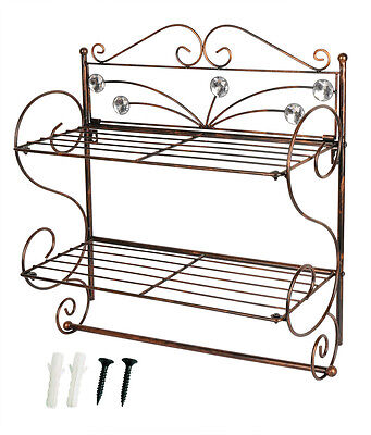 Wall Mounted Shelf Rack Kitchen Bathroom Storage Towel Toilet Paper Roll Holder