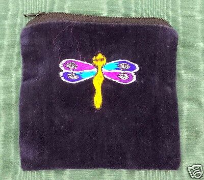 Dragonfly Blue Velvet Coin Purse Bag Pouch Credit Card ID Holder Wallet Cotton